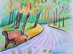 Фото осенний парк карандашом