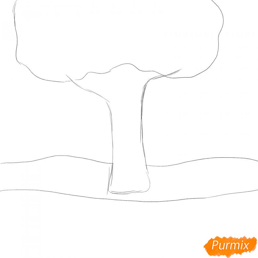 Рисуем осенний парк с людьми - шаг 1