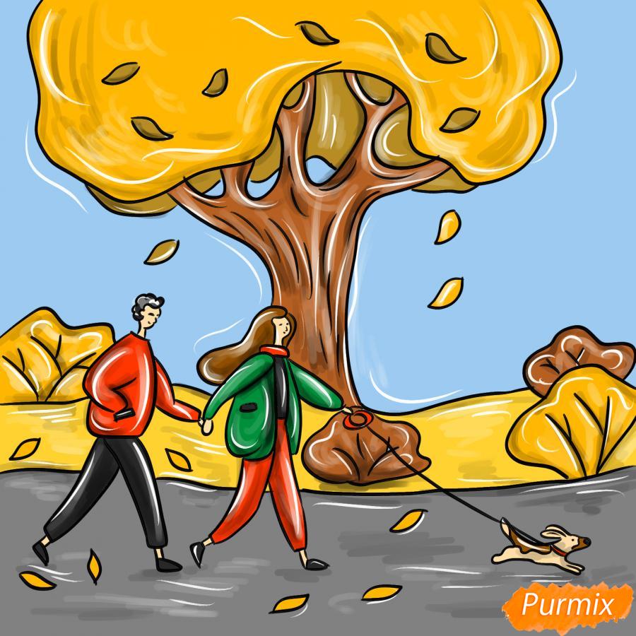 Рисуем осенний парк с людьми - шаг 10