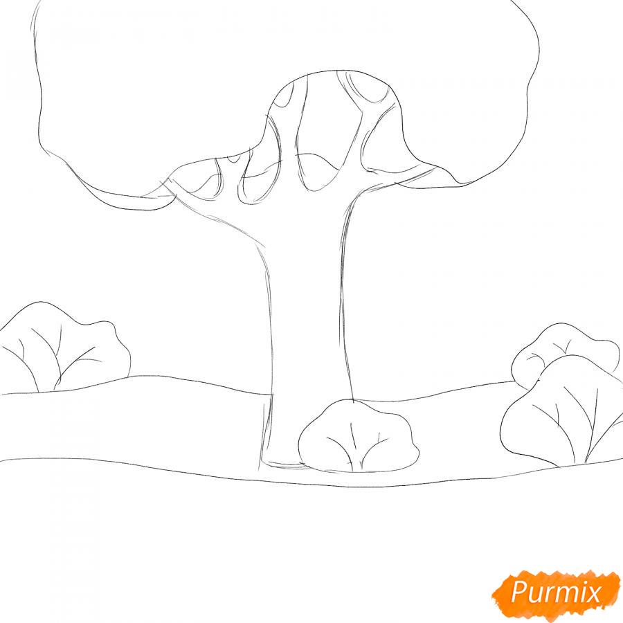 Рисуем осенний парк с людьми - шаг 2