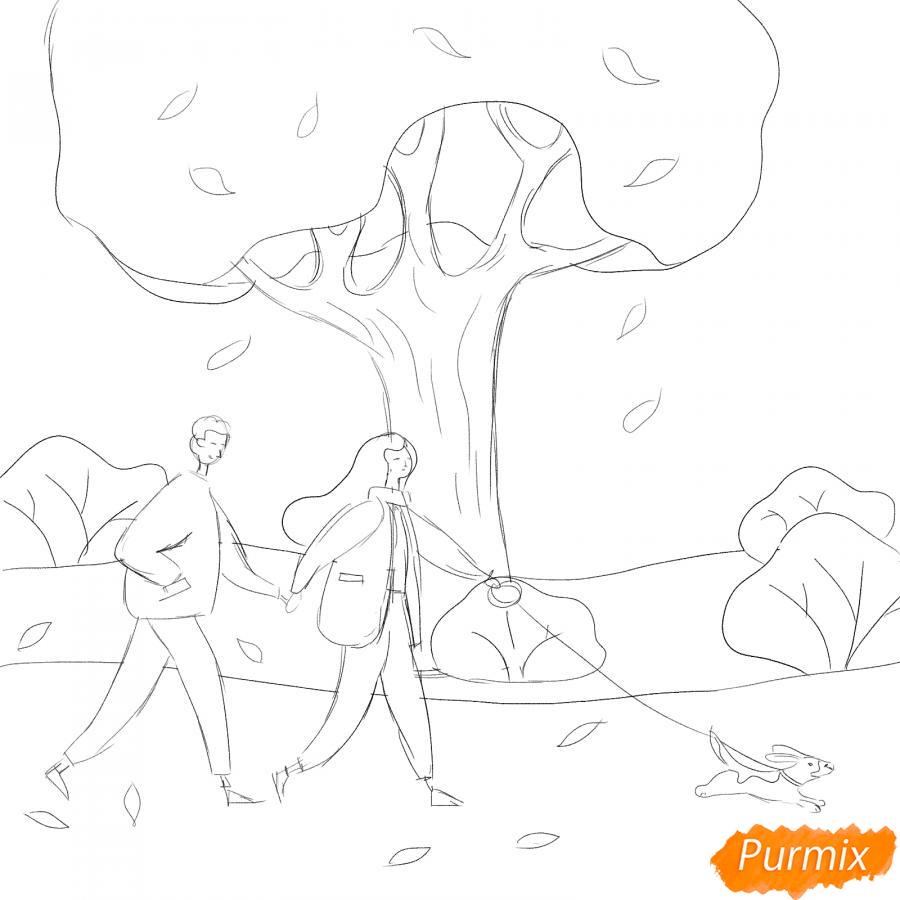Рисуем осенний парк с людьми - шаг 4