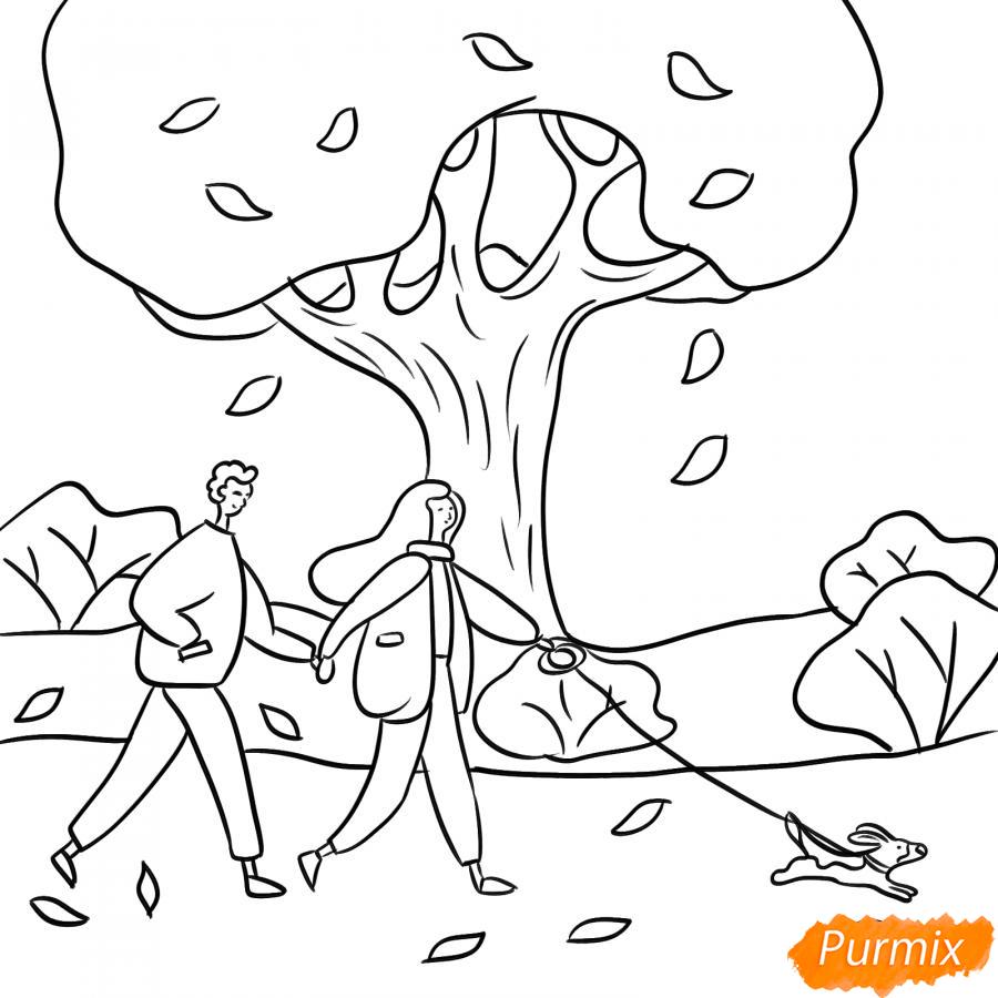 Рисуем осенний парк с людьми - шаг 5