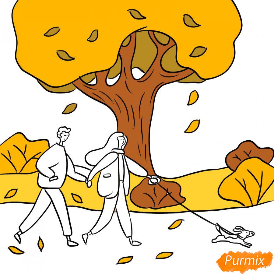 Рисуем осенний парк с людьми - шаг 6