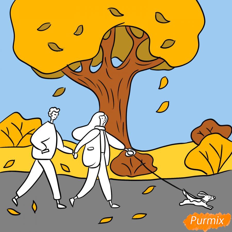 Рисуем осенний парк с людьми - шаг 7
