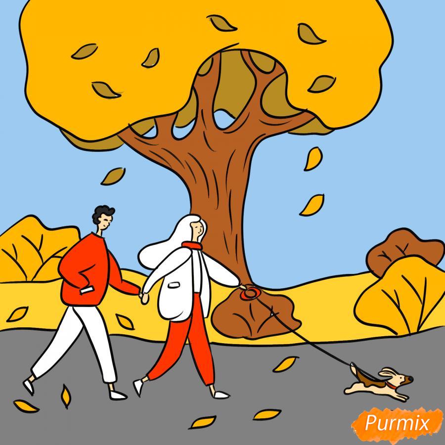Рисуем осенний парк с людьми - шаг 8