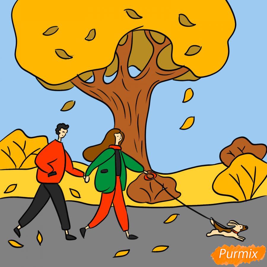 Рисуем осенний парк с людьми - шаг 9