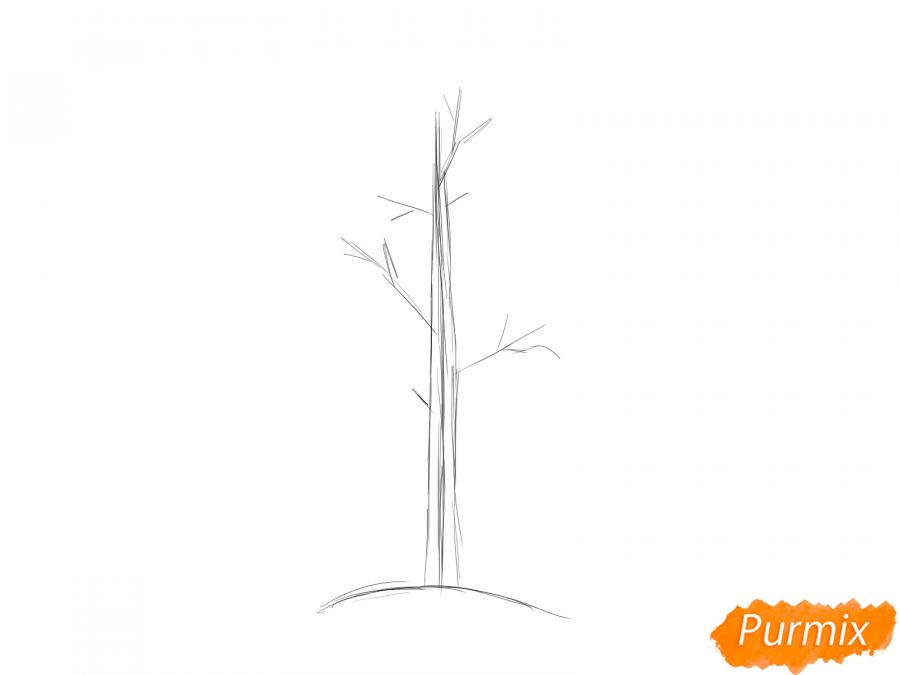 Рисуем осину без листьев - шаг 2