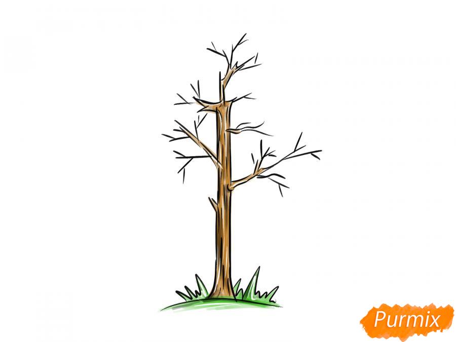 Рисуем осину без листьев - шаг 8