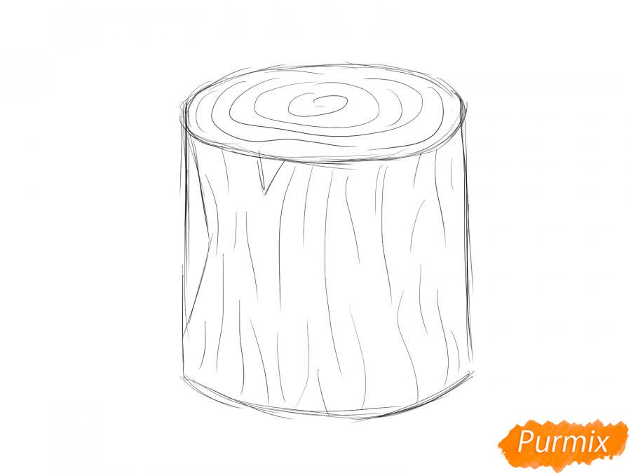 Рисуем пень от дерева легко для детей - шаг 2