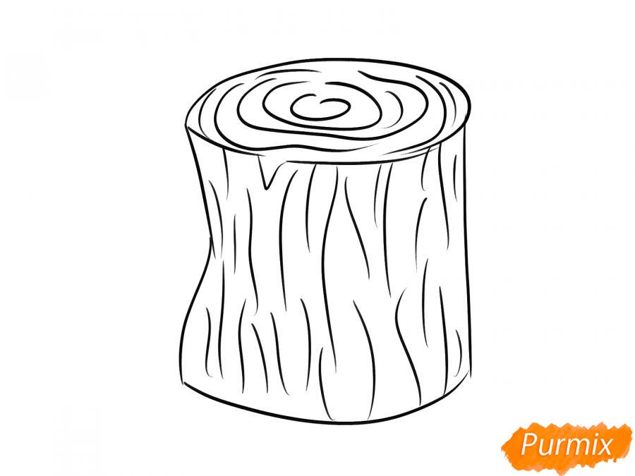 Рисуем пень от дерева легко для детей - шаг 3