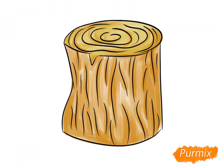 Рисуем пень от дерева легко для детей - шаг 4