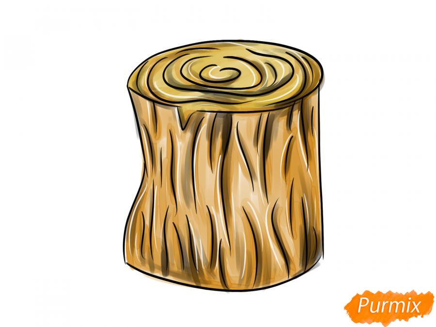 Рисуем пень от дерева легко для детей - шаг 5