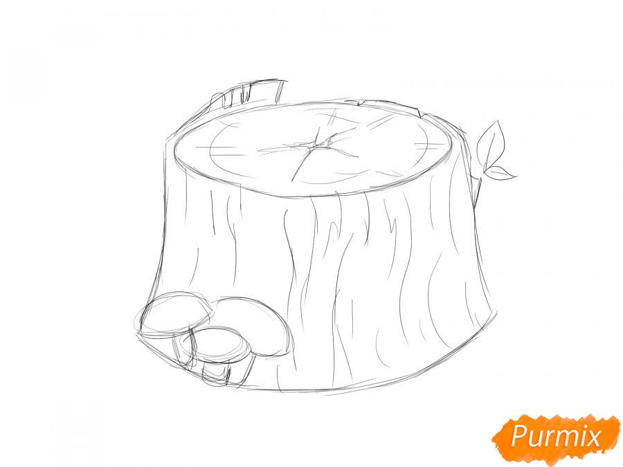Рисуем пень от дерева с грибами - шаг 2