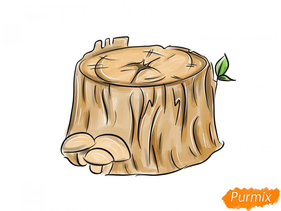 Рисуем пень от дерева с грибами - шаг 5