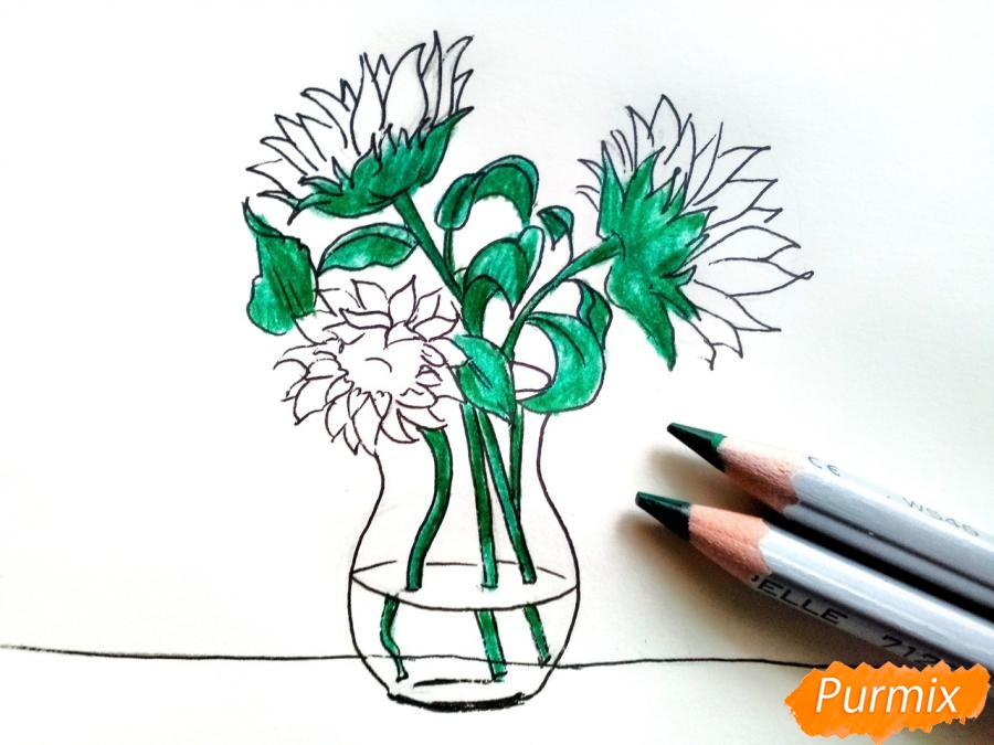 Рисуем подсолнухи в вазе - шаг 6
