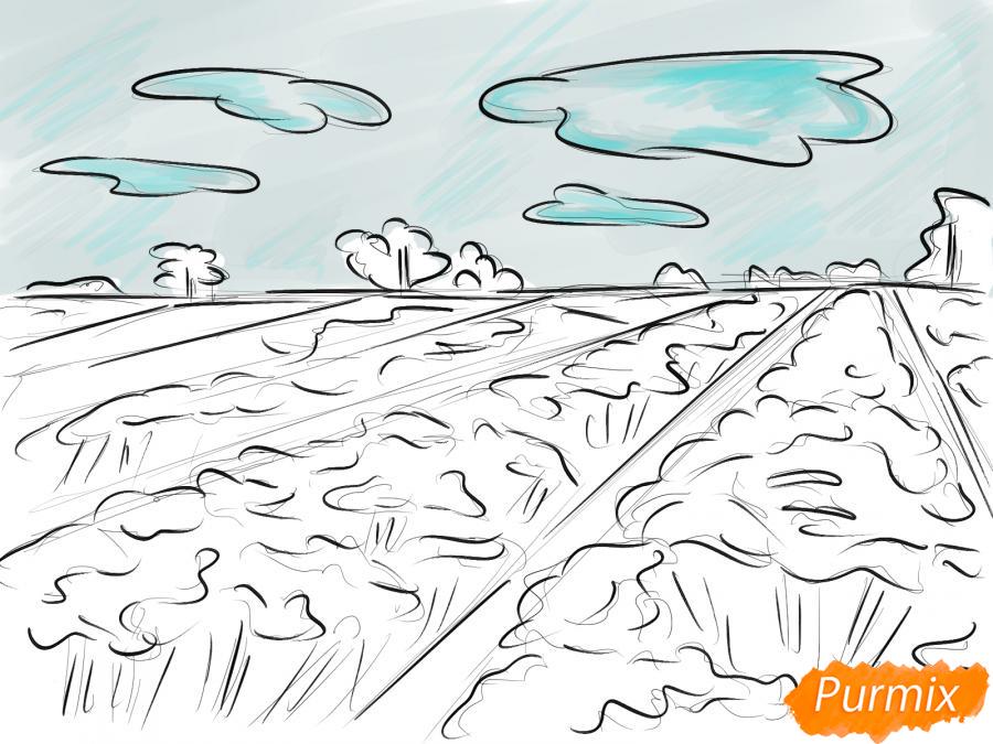 Рисуем поле лаванды - шаг 7