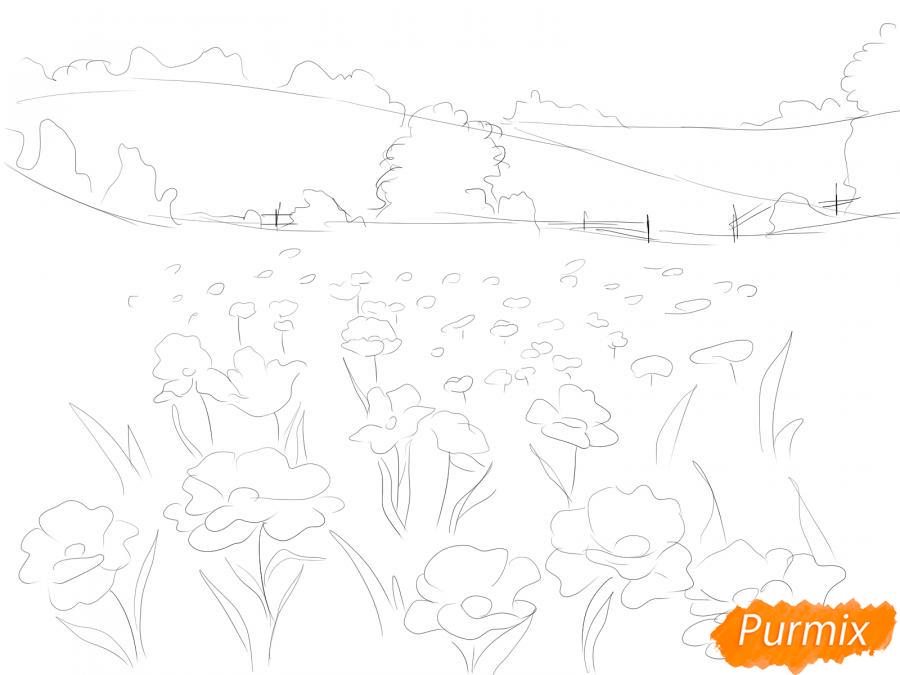 Рисуем поле маков - шаг 4