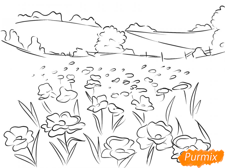 Рисуем поле маков - шаг 5