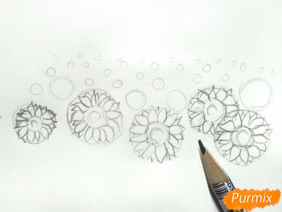 Рисуем поле подсолнухов - шаг 2