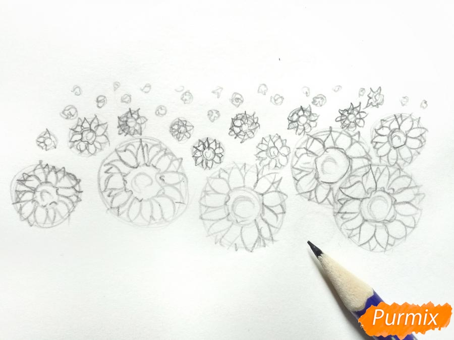 Рисуем поле подсолнухов - шаг 3