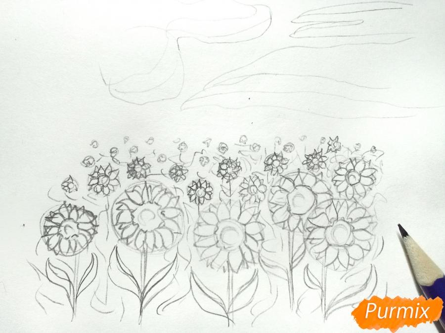 Рисуем поле подсолнухов - шаг 4