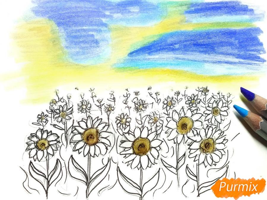 Рисуем поле подсолнухов - шаг 7