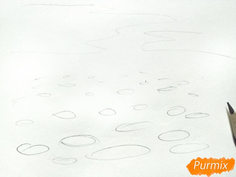 Рисуем поле ромашек карандашами - шаг 1