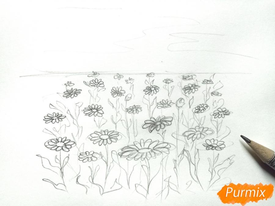 Рисуем поле ромашек карандашами - шаг 3