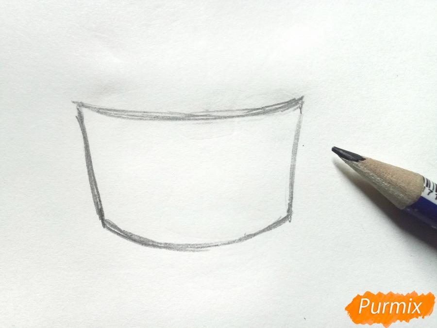 Рисуем сирень в корзине цветными карандашами - шаг 1