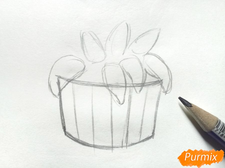 Рисуем сирень в корзине цветными карандашами - шаг 2