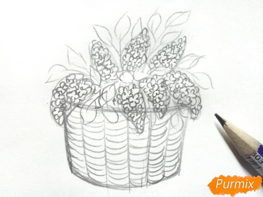 Рисуем сирень в корзине цветными карандашами - шаг 4