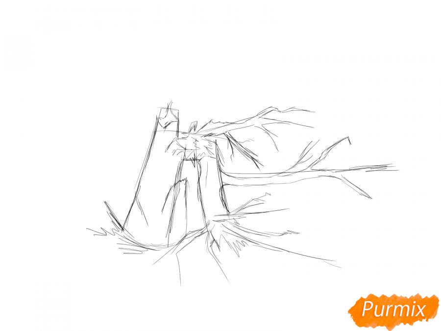 Рисуем сломанное дерево без листьев - шаг 4