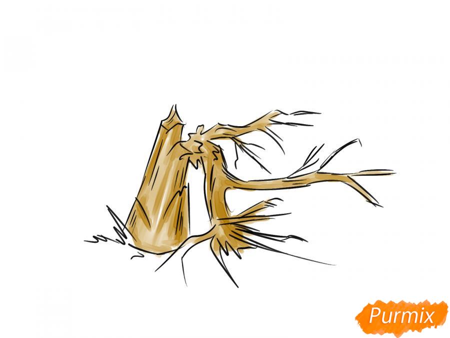Рисуем сломанное дерево без листьев - шаг 6
