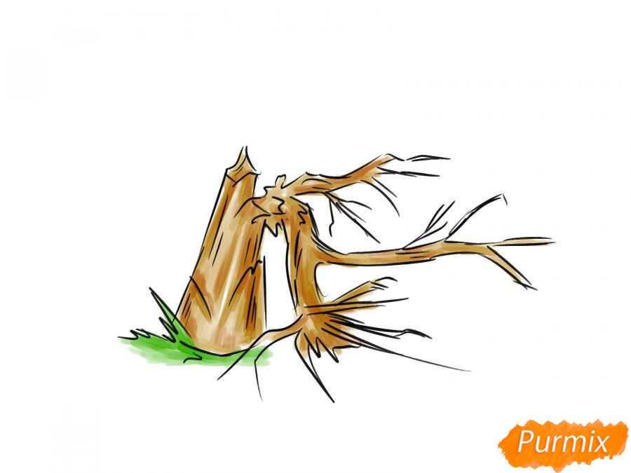 Рисуем сломанное дерево без листьев - шаг 7