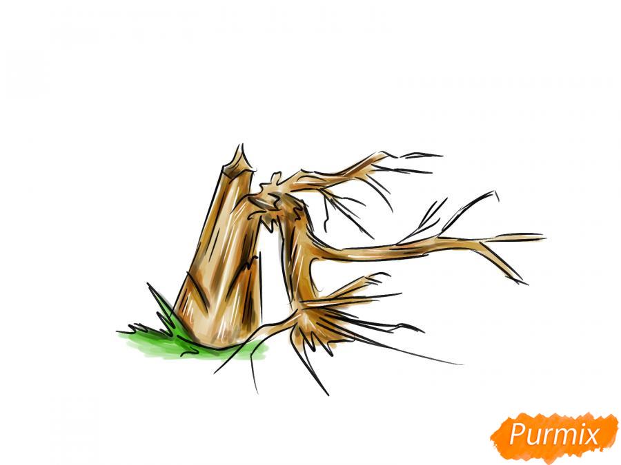 Рисуем сломанное дерево без листьев - шаг 8