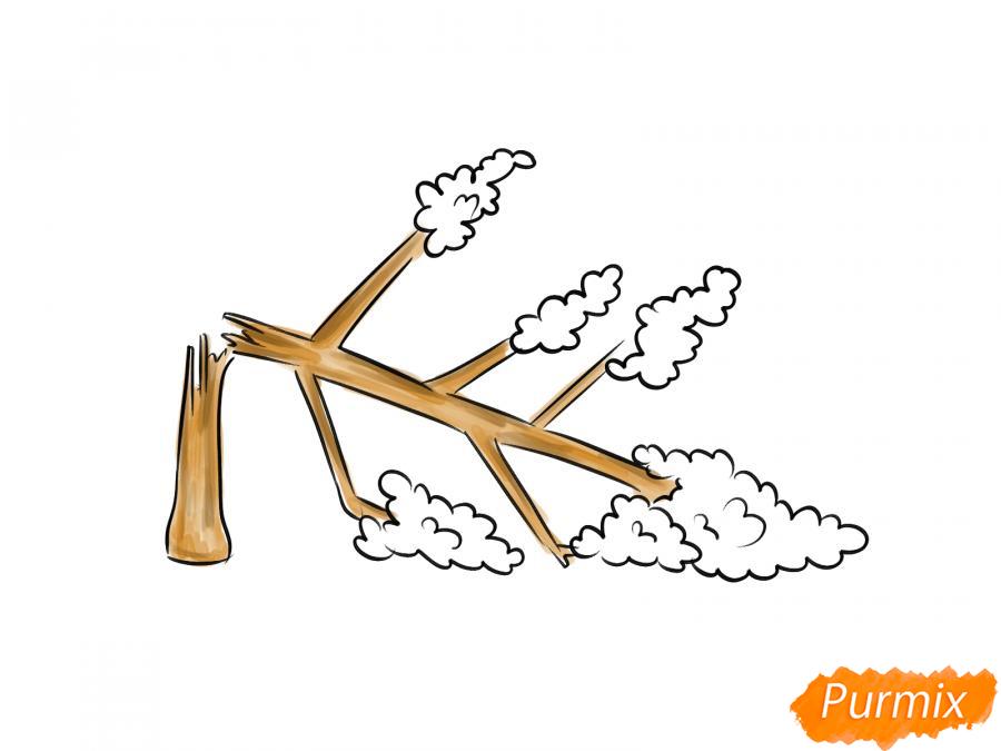 Рисуем сломанное дерево - шаг 6