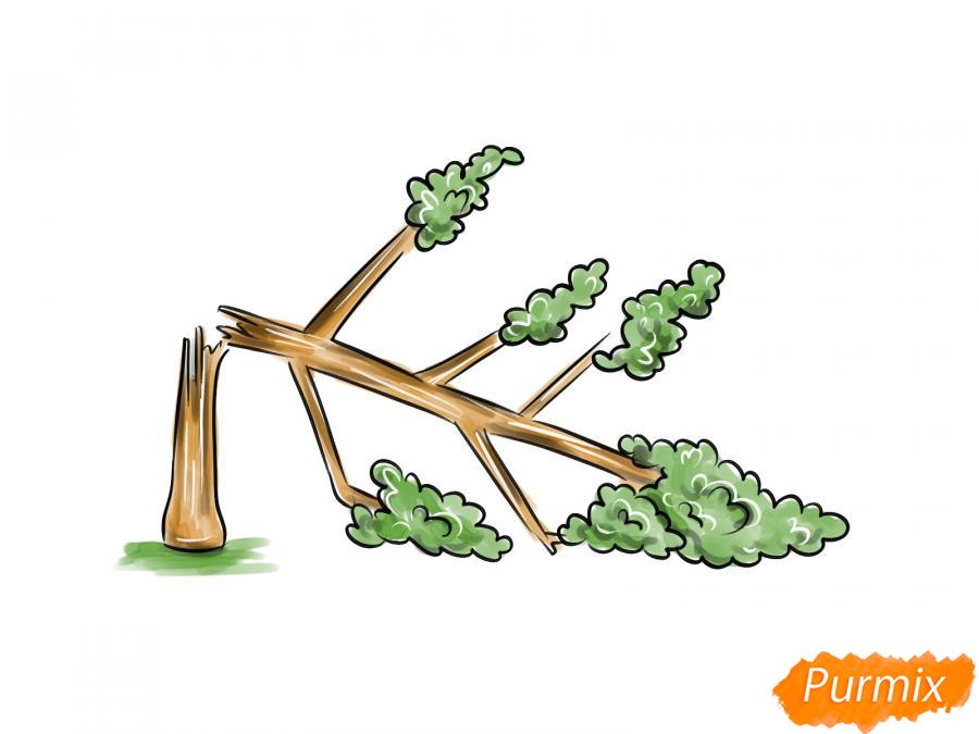 Рисуем сломанное дерево - шаг 8