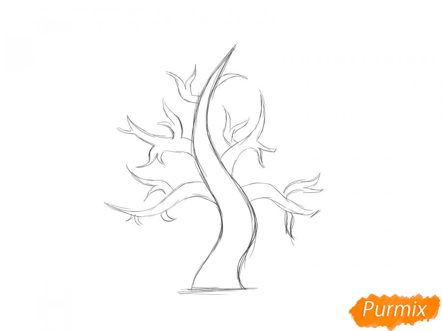 Рисуем сухое дерево каштана - шаг 4