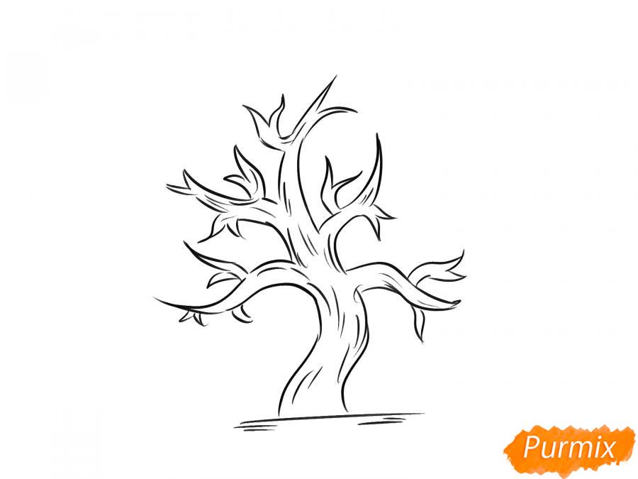 Рисуем сухое дерево каштана - шаг 6