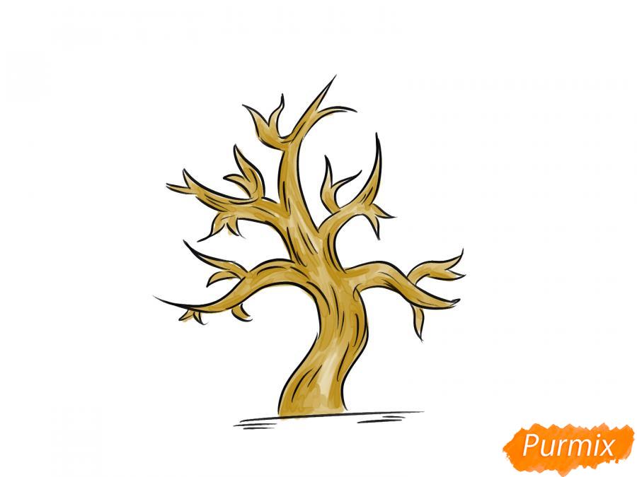 Рисуем сухое дерево каштана - шаг 7
