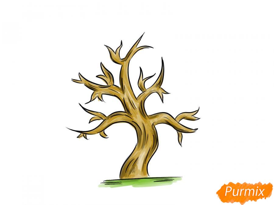 Рисуем сухое дерево каштана - шаг 8