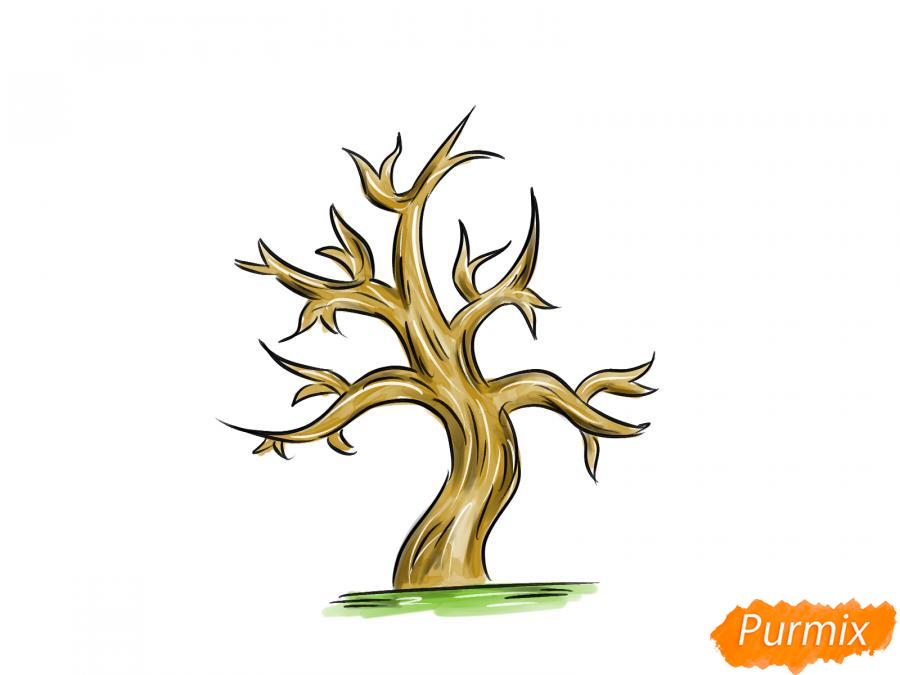 Рисуем сухое дерево каштана - шаг 9