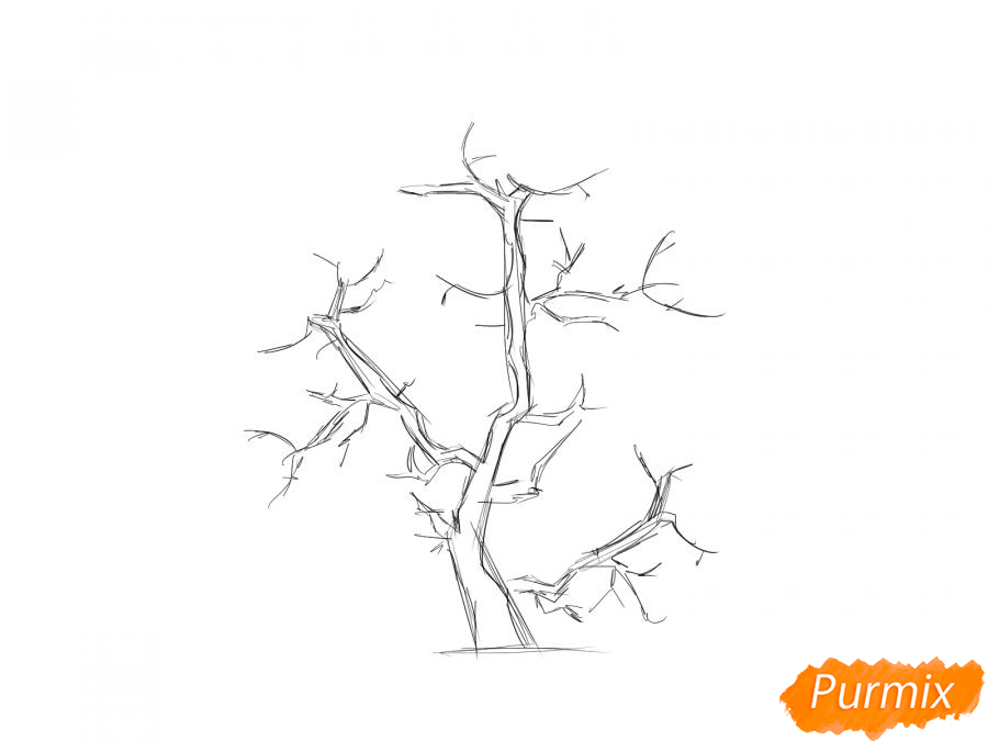 Рисуем сухое горящее дерево - шаг 2