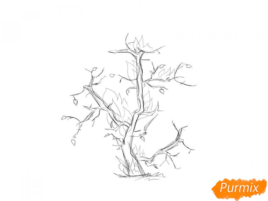 Рисуем сухое горящее дерево - шаг 3