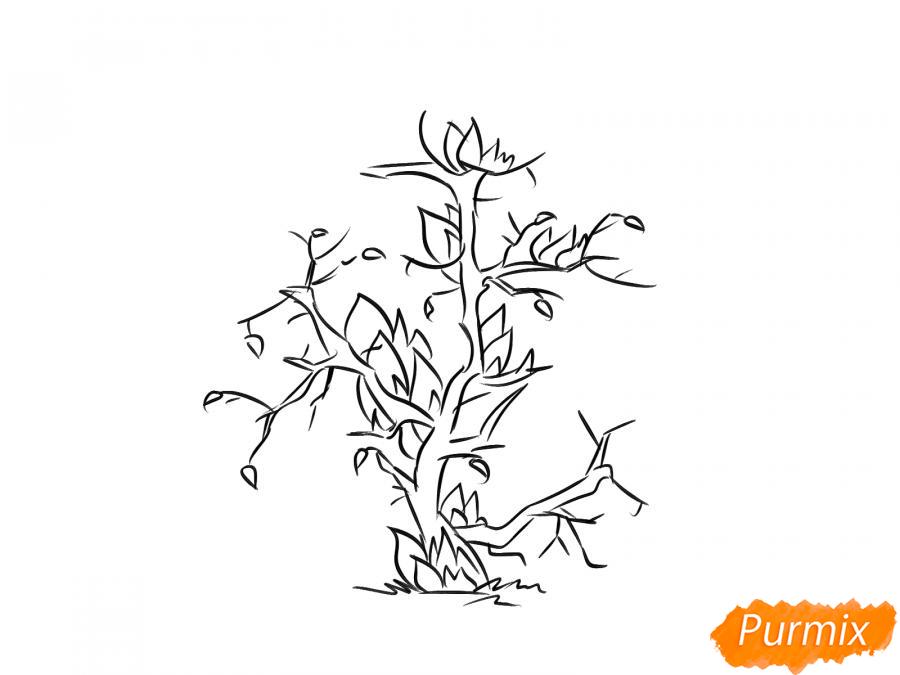 Рисуем сухое горящее дерево - шаг 4