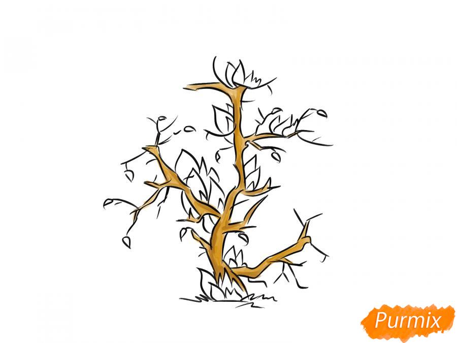 Рисуем сухое горящее дерево - шаг 5