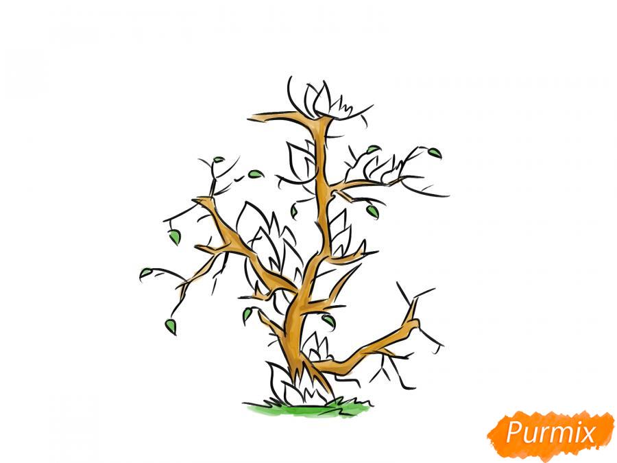 Рисуем сухое горящее дерево - шаг 6
