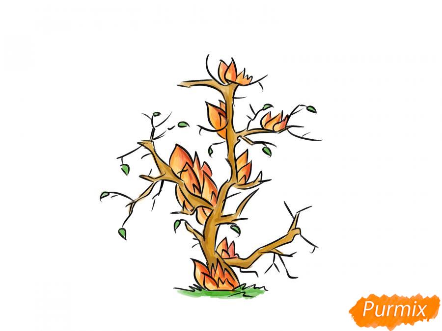 Рисуем сухое горящее дерево - шаг 7