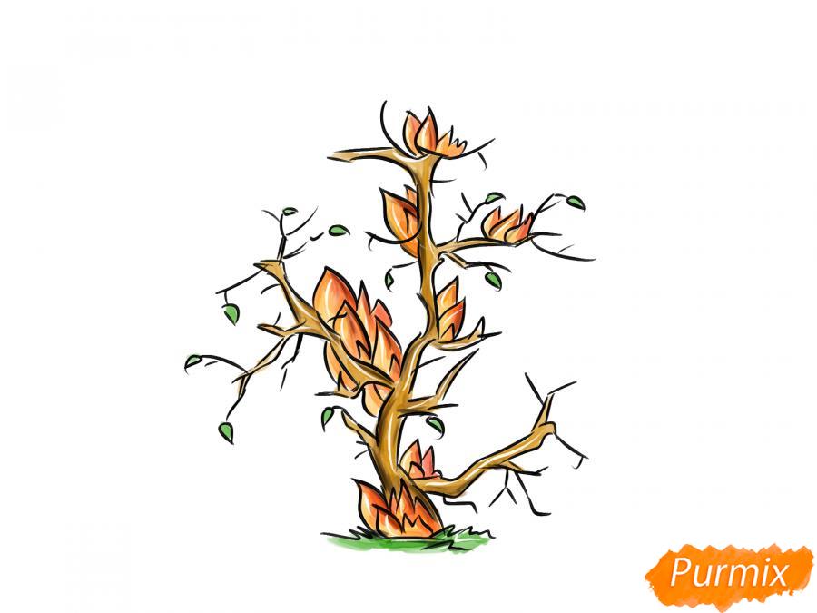 Рисуем сухое горящее дерево - шаг 8