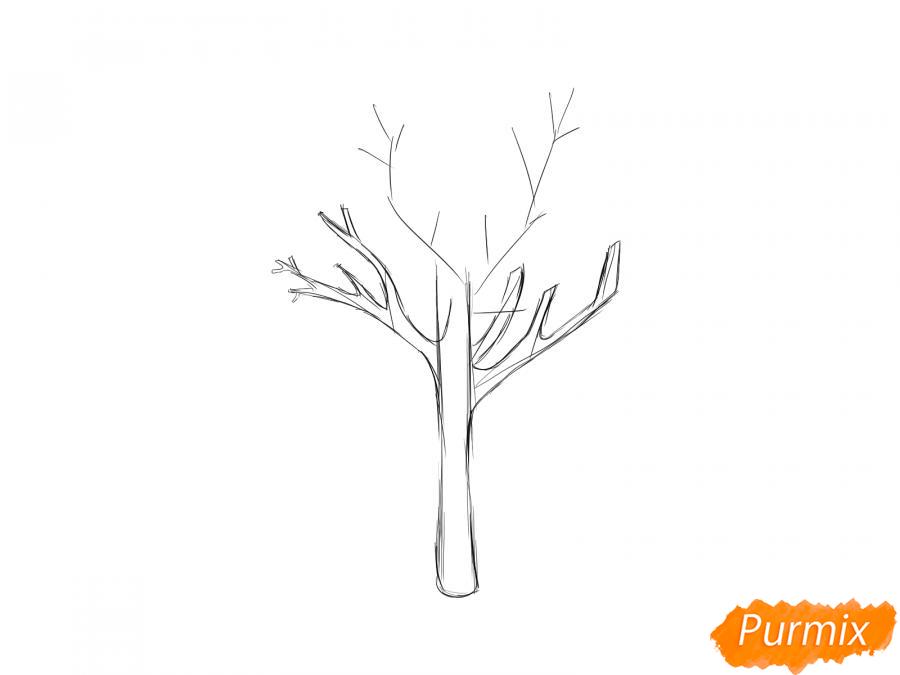 Рисуем сухую березу - шаг 3